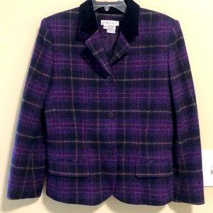 Chaus Blazer Jacket Wool Plaid SZ 10 EUC